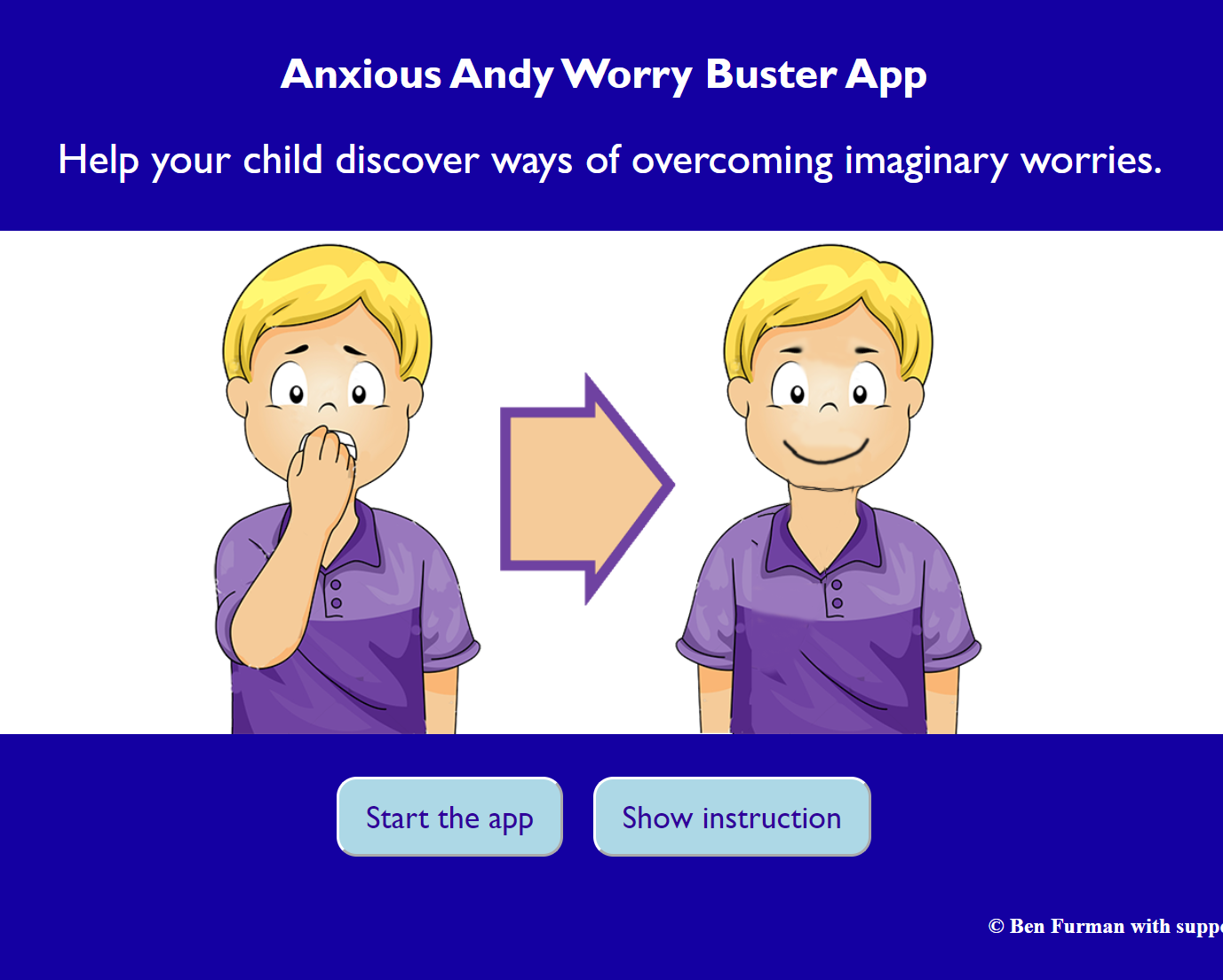 the front page of the Anxious Andy worry buster prorgam
